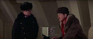 Harry and Leo Newbigen (Karl Malden) consult with the Brain's remote terminal in Ken Russell's Billion Dollar Brain (1967)