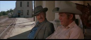 Junior (Steve McQueen) and his father Ace (Robert Preston) confront their sense of failure in Sam Peckinpah's Junior Bonner (1972)
