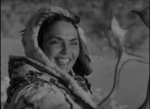 Mirjami Kuosmanen as free spirit Pirita in Erik Blomber's The White Reindeer (1952)