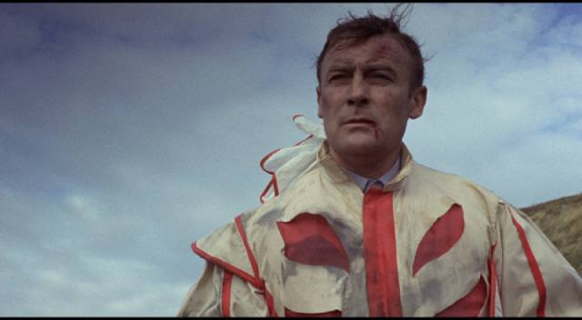 Sergeant Howie (Edward Woodward) gets his first look at the fate awaiting him in Robin Hardy's The Wicker Man (1973)