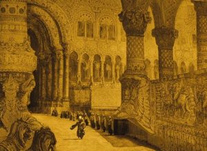 The Baron arrives at the Sultan's palace in Karel Zeman's Baron Prasil (1962)