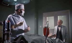 Dr. Peter Blood (Kieron Moore) pushes research beyond acceptable limits in Sidney J. Furie's Doctor Blood's Coffin (1961)