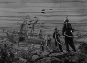 The Count's men head out to ransack a recently sunken ship in Karel Zeman's Invention For Destruction (1958)