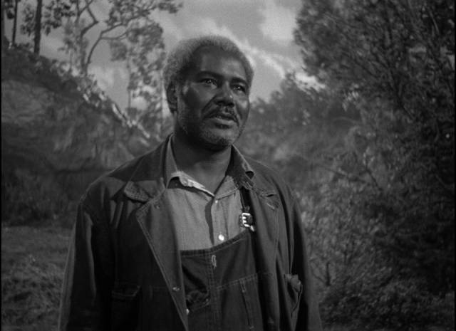 Mose (Rex Ingram) watches over Danny Hawkins (Dane Clark) as a wise mentor in Frank Borzage's Moonrise (1948)