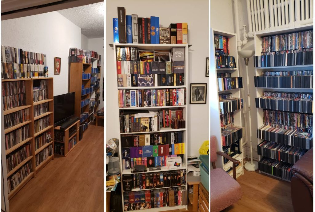Some of my shelves, with disks two deep and others piled on top!
