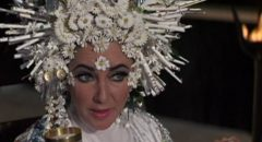 Liz Taylor as wealthy widow Sissy Goforth clinging to life in Joseph Losey's Boom (1968)