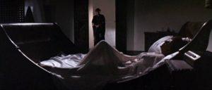 Mrs. Goforth (Elizabeth Taylor) finally invites death (Richard Burton) into her boudoir in Jospeh Losey's Boom (1968)
