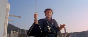 Flanders (Richard Burton) waves his katana around like an amateur bringer of death in Joseph Losey's Boom (1968)
