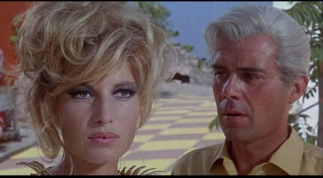 Dirk Bogarde as Modesty (Monica Vitti)'s decadent opponent Gabriel in Joseph Losey's Modesty Blaise (1966)