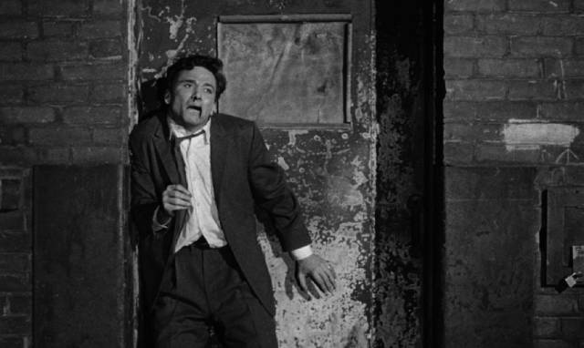 Nico (Peter Falk) comes to a fitting end in Julian Roffman's The Bloody Brood (2959)