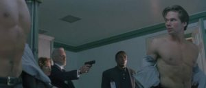 The Old Man (Donald Sutherland) can't even trust his son, Sam (Eric Thal) in Stuart Orme's The Puppet Masters (1994)
