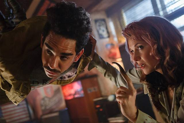 Evil Lucy Lawless abuses Ash's sidekick Ray Santiago in Ash vs Evil Dead (2015-18)