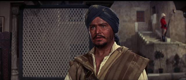 Disdained mixed-race officer Lieutenant Case (Ronald Lewis) turns against the British Army in John Gilling's The Brigand of Kandahar (1965)