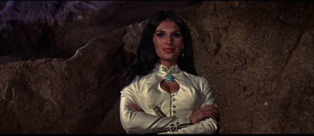 The imperious Ratina (Yvonne Romain) is an implacable foe of the British in John Gilling's The Brigand of Kandahar (1965)