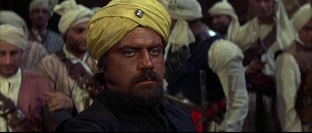 Oliver Reed in blackface as rebel leader Eli Khan in John Gilling's The Brigand of Kandahar (1965)