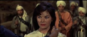 Officer's wife Elsa Connelly (Katherine Woodville) is captured by the rebels in John Gilling's The Brigand of Kandahar (1965)