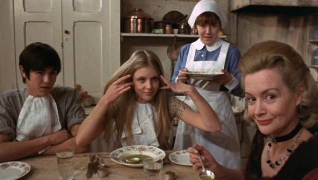 The family amuse themselves by taunting a new friend with arcane rules in Freddie Francis' Mumsy, Nanny, Sonny & Girly (1970)