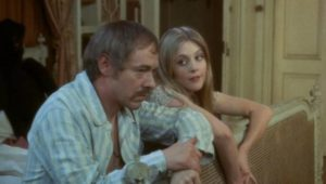 Girly is playfully seductive with New Friend (Michael Bryant) in Freddie Francis' Mumsy, Nanny, Sonny & Girly (1970)