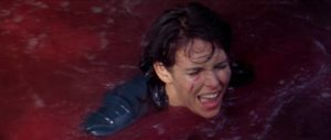 Maggie Mason (Marie Devereux) is the first victim of the piranha in John Gilling's The Pirates of Blood River (1962)