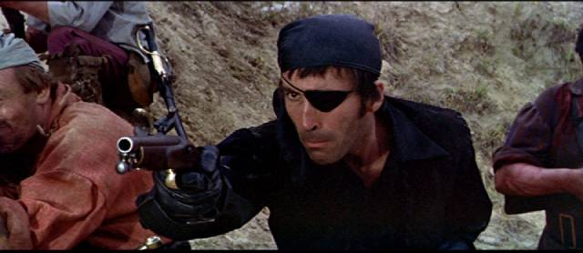 Christopher Lee as menacing pirate captain LaRoche in John Gilling's The Pirates of Blood River (1962)
