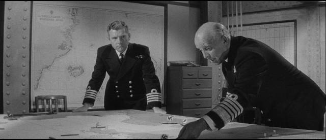 Kenneth More discusses strategy in Lewis Gilbert's Sink the Bismarck! (1960)