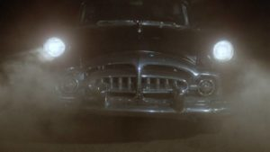 A killer vehicle stalks the heroine of George Bowers' The Hearse (1980)