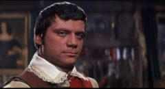 Oliver Reed as Captain Tom Sylvester, a Roundhead with conflicted loyalties in John Gilling's The Scarlet Blade (1963)