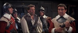 Royalist leader Edward Beverley (Jack Hedley) in the hands of Roudhead Captain Bell (Duncan Lamont) in John Gilling's The Scarlet Blade (1963)