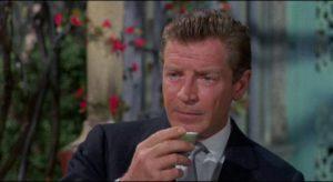 Don Benton (Richard Basehart), travel agent turned spy in Michael Carreras' Visa to Canton (1960)