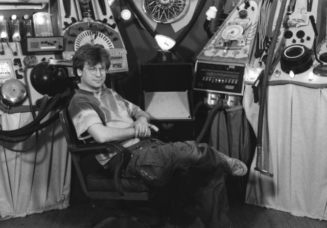 Production designer Gordon Wilding on the spaceship set of Kenneth George Godwin's The Adventures of Steall Starr of the Galaxy Rangers in the 23rd Century, Chapter 7: Falling Starr! (1994)