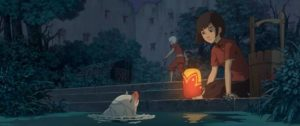 Chun and the boy reincarnated as a fish in the Chinese animated feature Big Fish & Begonia (2016)