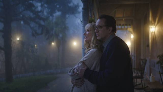 Nathan (Nicholas Cage) and Theresa (Joely Richardson) try to put their lives back together in Richard Stanley's Color Out Of Space (2019)
