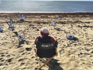 Agnes Varda relaxes on the beach with friends in Varda by Agnes (2019)