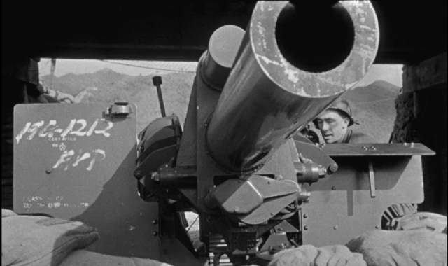 One of the few eye-poking moments in Owen Crump's 3D Korean war movie Cease Fire (1953)