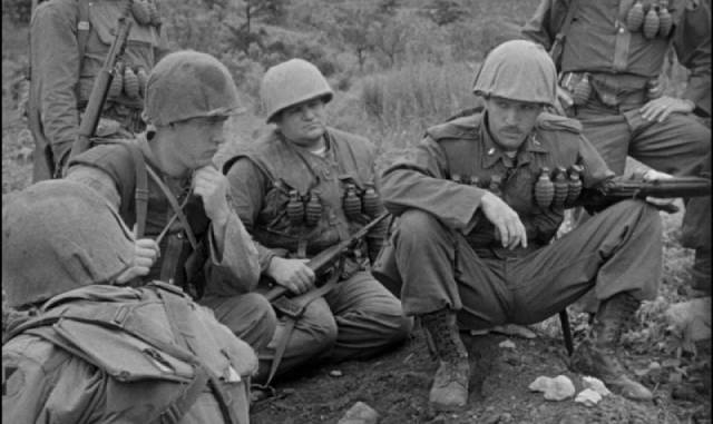 Real soldiers playing movie soldiers in Owen Crump's Cease Fire (1953)