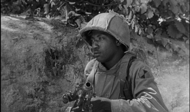 Presence of a Black GI in the platoon silently papers over the racial problems in the U.S. military in Korea in Owen Crump's Cease Fire (1953)