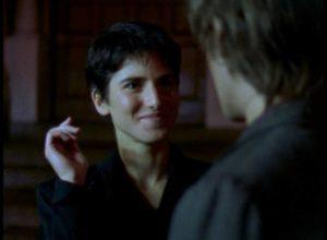 Anna (Meredith Snaider) hooks Sam (Larry Fessenden) with her attitude of ironic amusement in Larry Fessenden's Habit (1995)