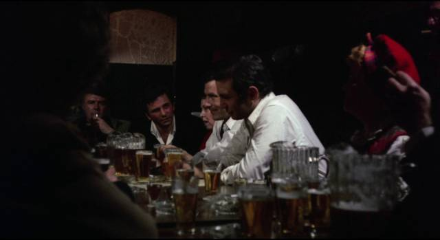 Archie (Peter Falk), Harry (Gen Gazzara) and Gus (John Cassavetes) get loud and obnoxious at a wake for their dead friend in John Cassavetes' Husbands (1970)