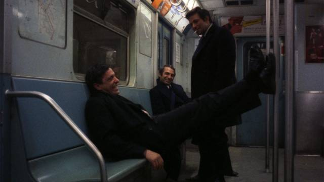 Gus (John Cassavetes), Harry (Ben Gazzara) and Archie (Peter Falk) try to figure out what to do with their lives at the end of an all-night bender in John Cassavetes' Husbands (1970)