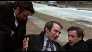 Friends Archie (Peter Falk), Harry (Ben Gazzara) and Gus (John Cassavetes) communicate mostly through roughhousing in Cassavetes' Husbands (1970)