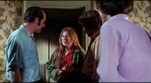 Jessica (Zohra Lampert), Duncan (Barton Heyman) and Woody (Kevin O'Connor) unexpectedly find Emily (Mariclare Costello) squatting in their house in John Hancock's Let's Scare Jessica to Death (1971)