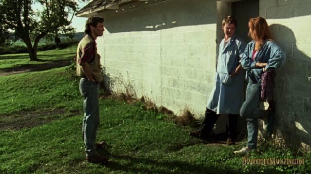 Researcher Geoffrey Gaines (Stephen Ramsey) doesn't like his wife Lillian (Miriam Healy-Louie)'s new friend Alex (David van Tieghem) in Larry Fessenden's No Telling (1991)