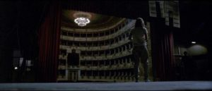 Betty (Cristina Marsillach) seeks safety in the darkened theatre in Dario Argento's Opera (1987)