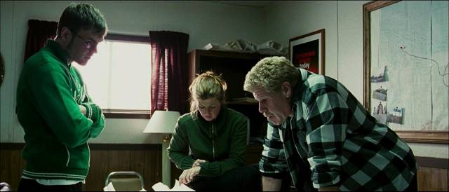 Crew boss Ed Pollack (Ron Perlman) is frustrated by delays caused by environmental assessments in Larry Fessenden's The Last Winter (2006)