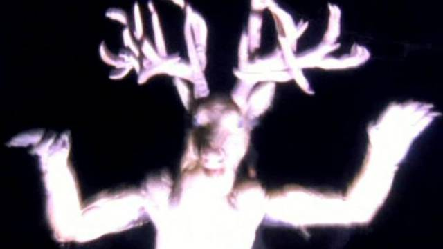 The Wendigo, a woodland spirit angered by human intrusions into its domain in Larry Fessenden's Wendigo (2001)