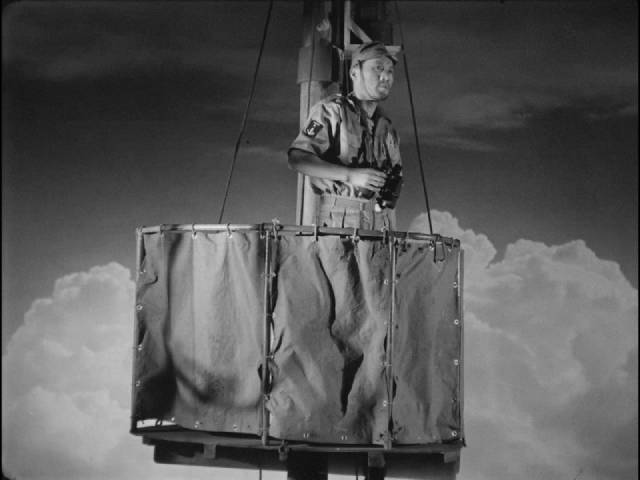 The lookout on a studio-bound ship spots enemy planes in Josef Von Sternberg's The Saga of Anatahan (1953)