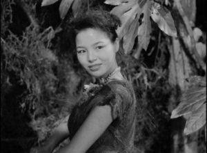 Keiko (Akemi Negishi), the lone woman among Japanese soldiers and sailors stranded on a remote island in Josef Von Sternberg's The Saga of Anatahan (1953)