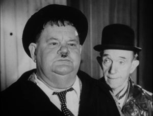 Stan and Ollie, at 60, sustain the comic relationship forged in the mid-1920s in Leo Joannon's Atoll K (1951)