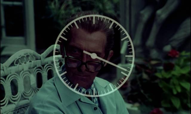 "Dr. Christopher Lundgren (Peter Cushing) during the ""werewolf break"" in Paul Annett's The Beast Must Die (1974)"