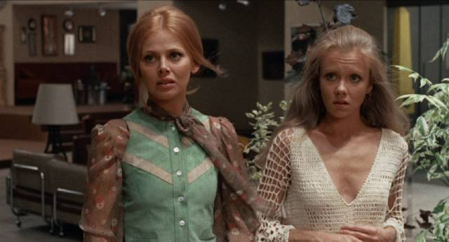 Ellie (Hayley Mills) is caught between Greta (Britt Ekland) and Michael (Hywel Bennett) in Sidney Gilliat's Endless Night (1972)